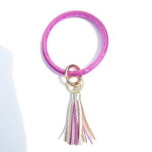 Simply Southern Pink/Gold Fringe Wrist Key Chain